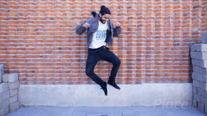 Hipster Guy Jumping in the Air Wearing a Round Neck T-Shirt Stop Motion a13438