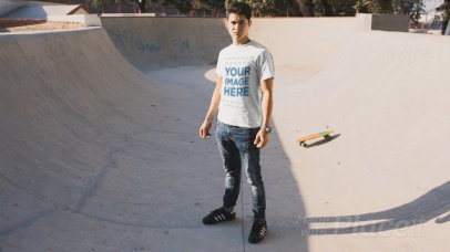 Young Man Wearing a T-Shirt Cinemagraph in a Skating Park a13499