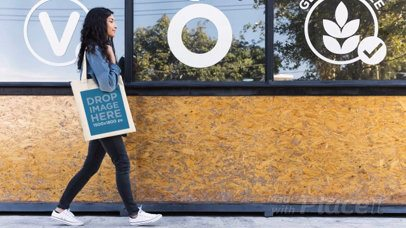 Girl Walking by Holding a Tote Bag in Stop Motion a13643