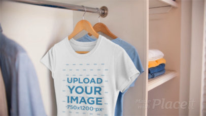 Round Neck T-Shirt Video of a Woman's Tee Hanging in a Closet a13076