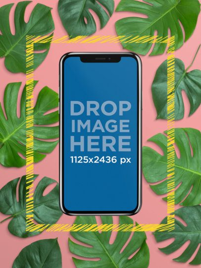 Black iPhone X Template with a Frame and Background a20037
