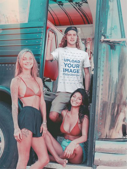 Vintage Shot of a Surfer Dude Wearing a T-Shirt Mockup with Two Friends a18845