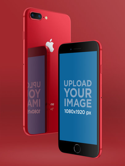 Red iPhone 8 Mockup Floating a20170