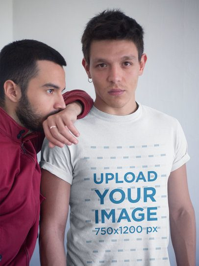 Gay Pride Shirts Mockup of a Man Wearing a Tee with his Boyfriend a19971