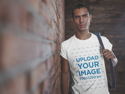 Man Wearing a Tshirt Template After a Yoga Class a20036