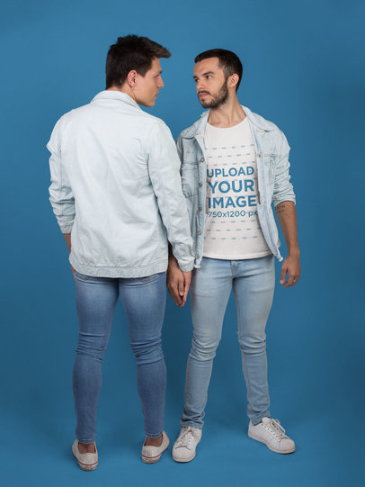 LGTB T-Shirt Mockup Being Worn by a Man Holding his Boyfriend's Hand a19974
