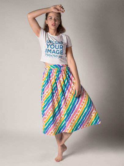 Girl Dancing Wearing a Skirt and a T-Shirt Mockup a19544