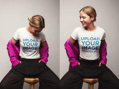 Multishot T-Shirt Mockup of a Girl Sitting on a Wooden Stool with a Pink Jacket a19553