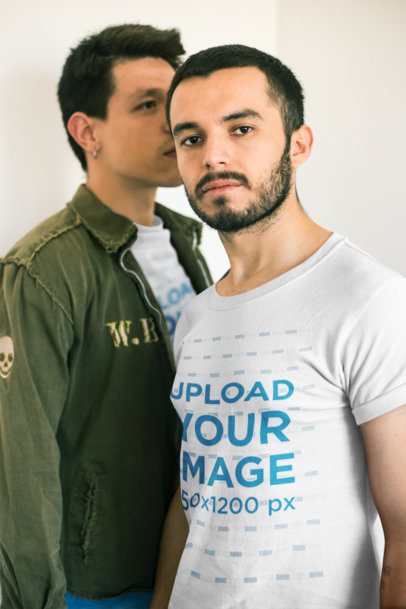 Gay T-Shirts Mockup Featuring a Man Whispering into his Boyfriend's Ear a19987