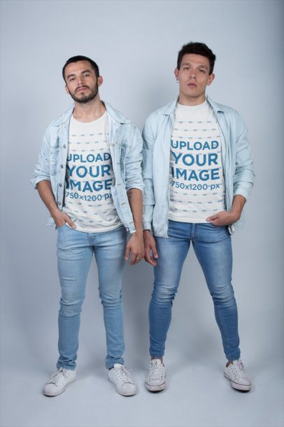 LGBT Shirts Mockup of a Gay Couple Wearing Round Neck Tees and Jeans a19990