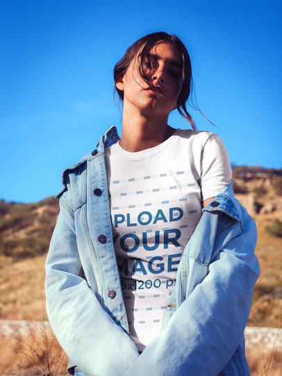 Woman Wearing a T-shirt Mockup at the Desert a18940