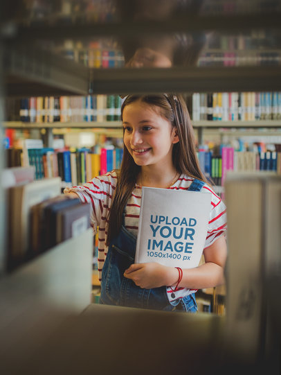 Smiling Girl Holding a Book Template at a Library a19275