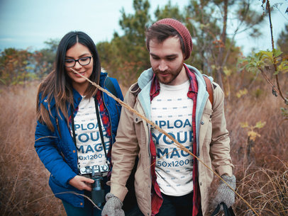 Couple Wearing Tshirts Mockup While Traveling a19034