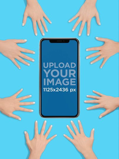 iPhone X Mockup Surrounded by Hands a19171