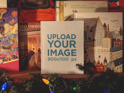 Book Mockup Standing on a Shelf Near Christmas Lights a19285