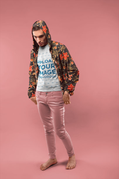 Man Wearing a Tshirt Mockup and a Flowers Jacket at a Studio a19677