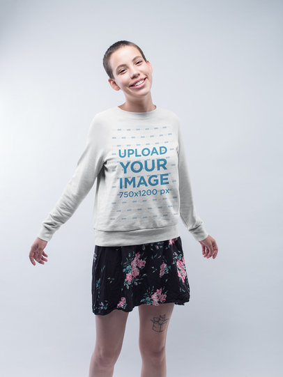 Happy Short-Haired Girl Wearing a Sweater Mockup while Dancing a19998