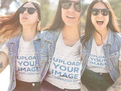 Multishot T-Shirt Mockup of a Happy Woman Wearing a T-Shirt and Sunglasses a19024