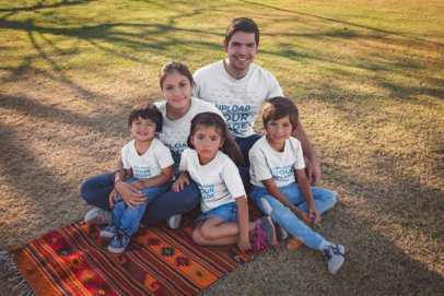 Portrait of a Family Wearing T-Shirts Mockup at the Park a20197