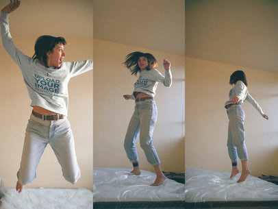 Triple Shot of a Woman Wearing a Crewneck Sweater Mockup Jumping on her Bed a18998