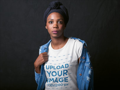 Surprised Black Woman Wearing a T-Shirt Mockup and a Denim Jacket a19902
