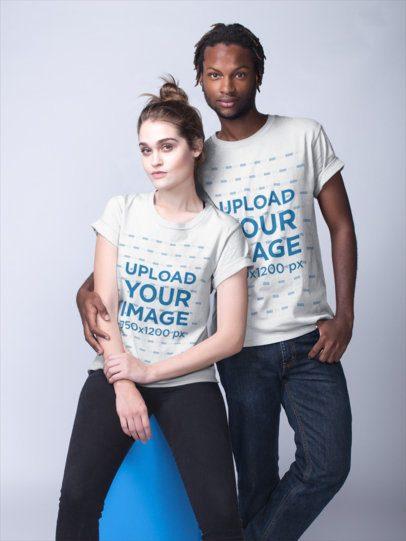 T-Shirts Mockup of an Interracial Couple at a Photo Studio a19915