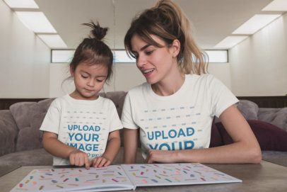 Mom and Girl Wearing T-Shirts Mockup While Learning About Colors a20277
