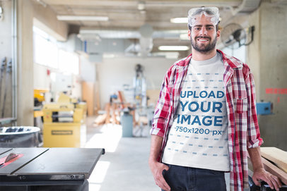 Happy Carpenter Wearing a T-Shirt Mockup at the Shop a20165