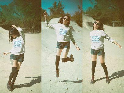 Multishot of a Tattooed Girl Wearing a Crewneck Sweatshirt Mockup while Jumping a19021
