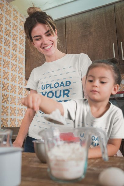 Mockup Featuring a Mom and Daughter Wearing T-shirts While Baking a20280