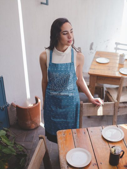 Apron Mockup Featuring a Woman in a Restaurant a19803