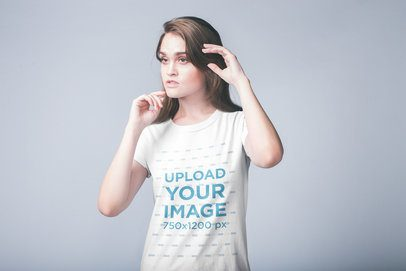 Portrait of a White Girl Wearing a T-Shirt Mockup a19913