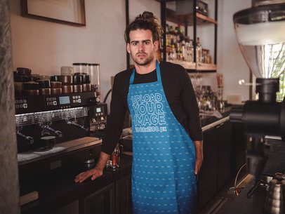 Dude Wearing an Apron Mockup About to Prepare Coffee a19871
