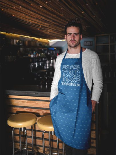 Bearded White Dude Wearing an Apron Mockup Waiting at a Bar a19887