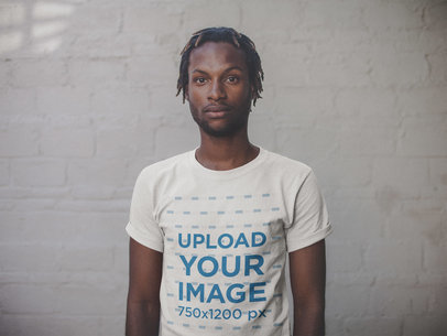 Black Dude with Short Dreadlocks Wearing a T-Shirt Mockup a20113