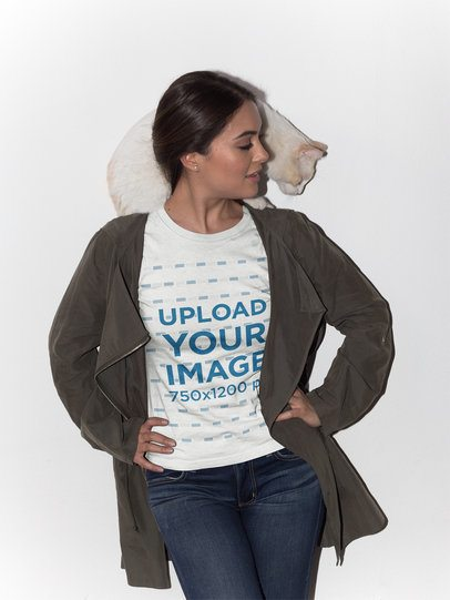 Woman Posing Wearing a T-Shirt Mockup with her Cat on her Shoulders a18777