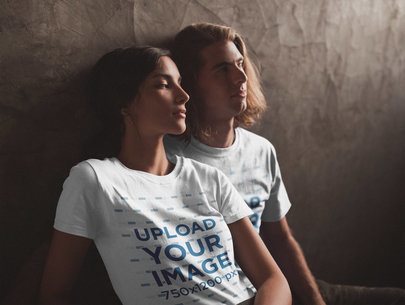 Happy Interracial Couple Wearing T-Shirts Mockup Under a Soft Light a20107