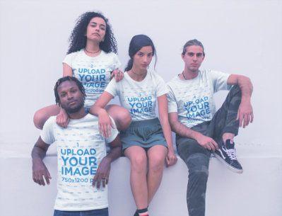 Group of Interracial Friends Wearing Shirts Mockup a20109