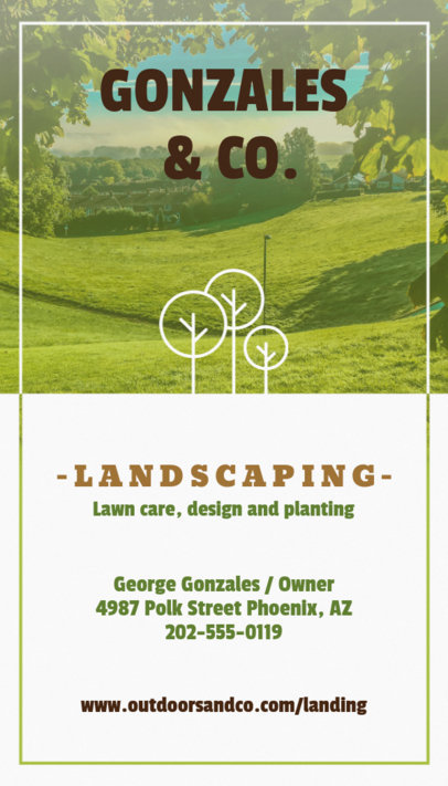 Vertical Landscaping Business Card Template a124