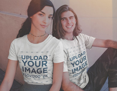 Vintage Shot of a Happy Interracial Couple Wearing Shirts Mockup a20093