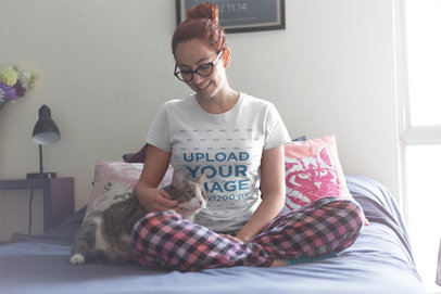 Red Haired Woman Wearing a T-Shirt Mockup Petting her Cat a18987