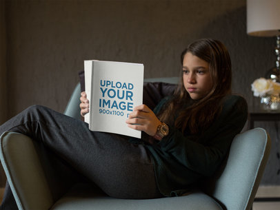 Girl Reading a Book Mockup Relaxing on an Armchair a19074