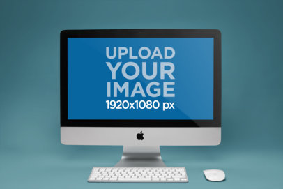 iMac Mockup Standing on a Solid Color Room a20674