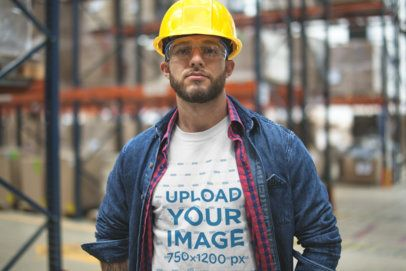 Serious Bearded Warehouse Worker Wearing a T-Shirt Mockup a20377