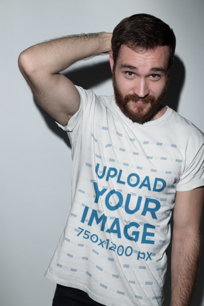 Red Haired Man Wearing a Tshirt Template at the Studio a20683