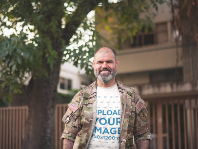 Mockup of a Happy Veteran Soldier Wearing a T-Shirt a20626