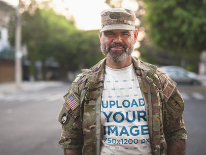 T-Shirt Mockup of a Soldier in Uniform a20630