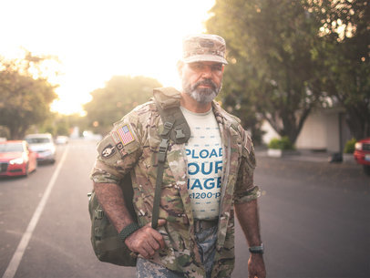 T-Shirt Mockup of a Soldier in Uniform on the Street a20635