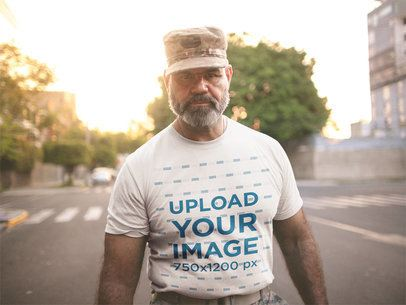 Mockup of a Veteran Soldier Wearing a T-Shirt on the Street a20636
