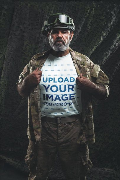 T-Shirt Mockup Featuring an Army Man in Uniform a20622
